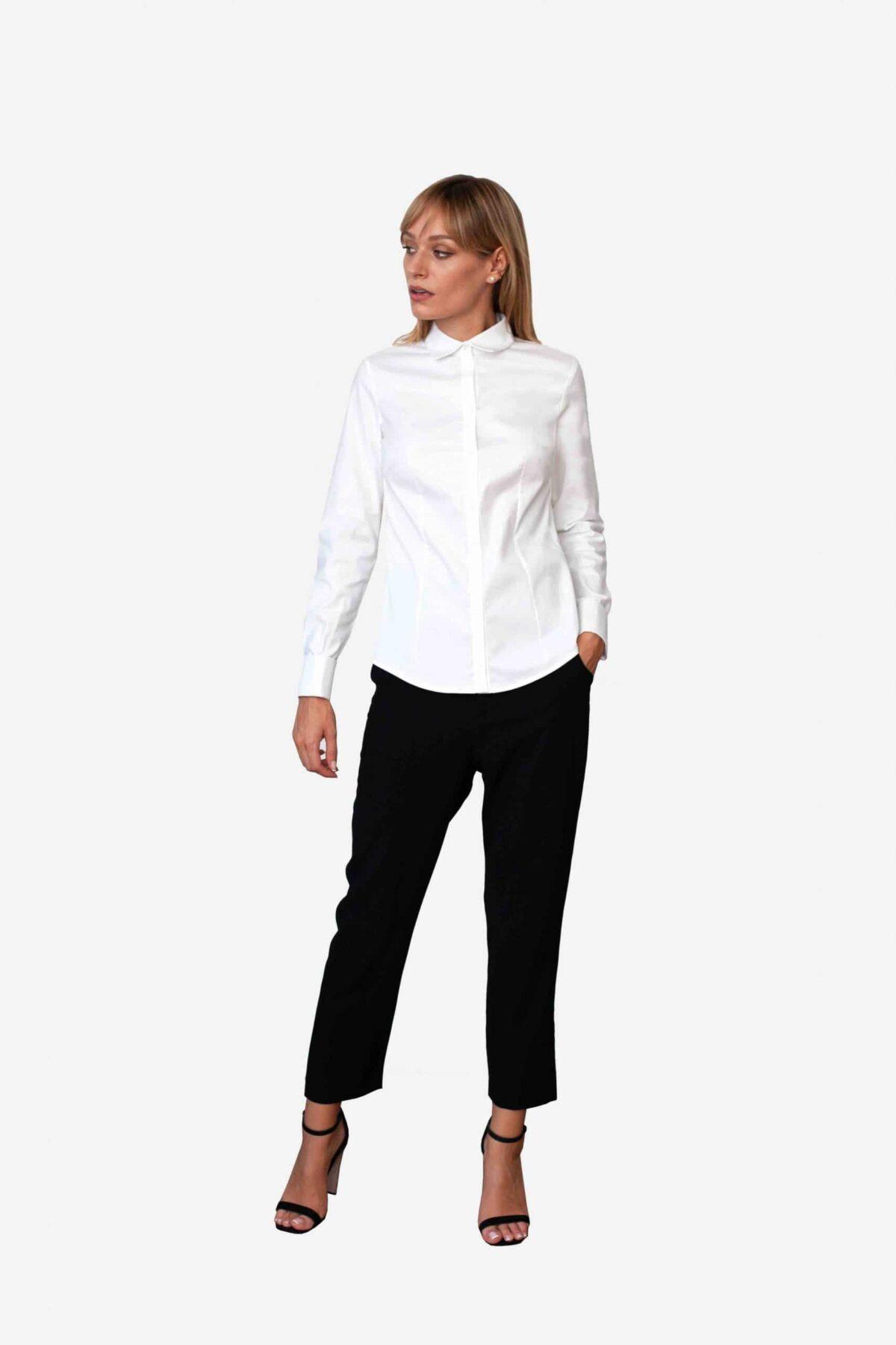 Bluse Michelle von SANOGE. Klassische Business Bluse in weiß. Hergestellt in Deutschland. Nachhaltig.