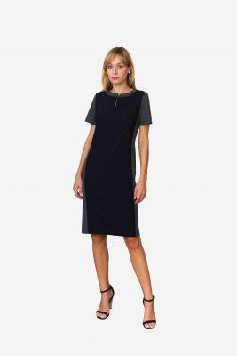 Kleid Adelaide - feines Schurwollkleid aus atmungsaktivem Stoff in grau und schwarz. Sehr elegant.