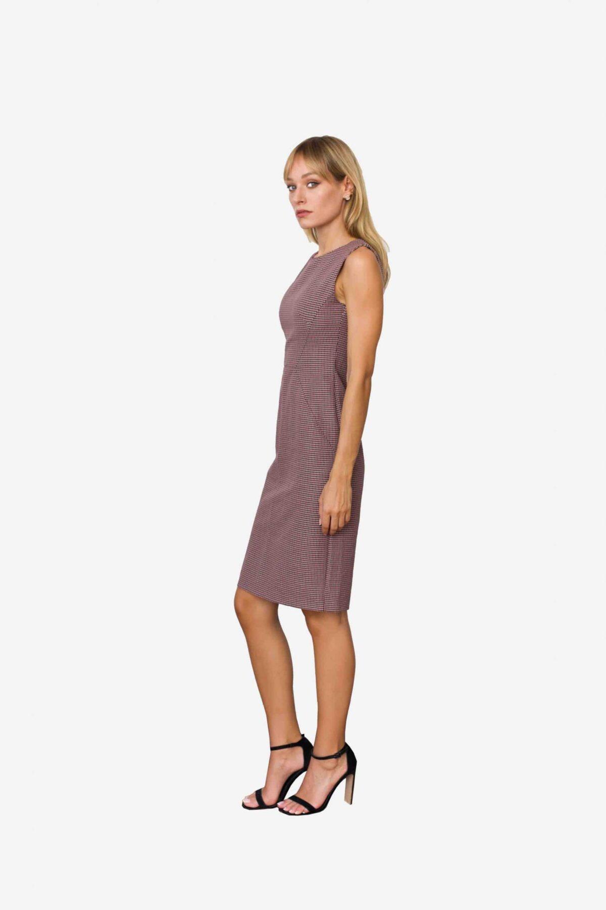 Kleid Defne von SANOGE. Figurbetontes Etuikleid ärmellos mit Pepita Muster in rose, altrosa und grau. Mit Stretch. Mode aus Deutschland.