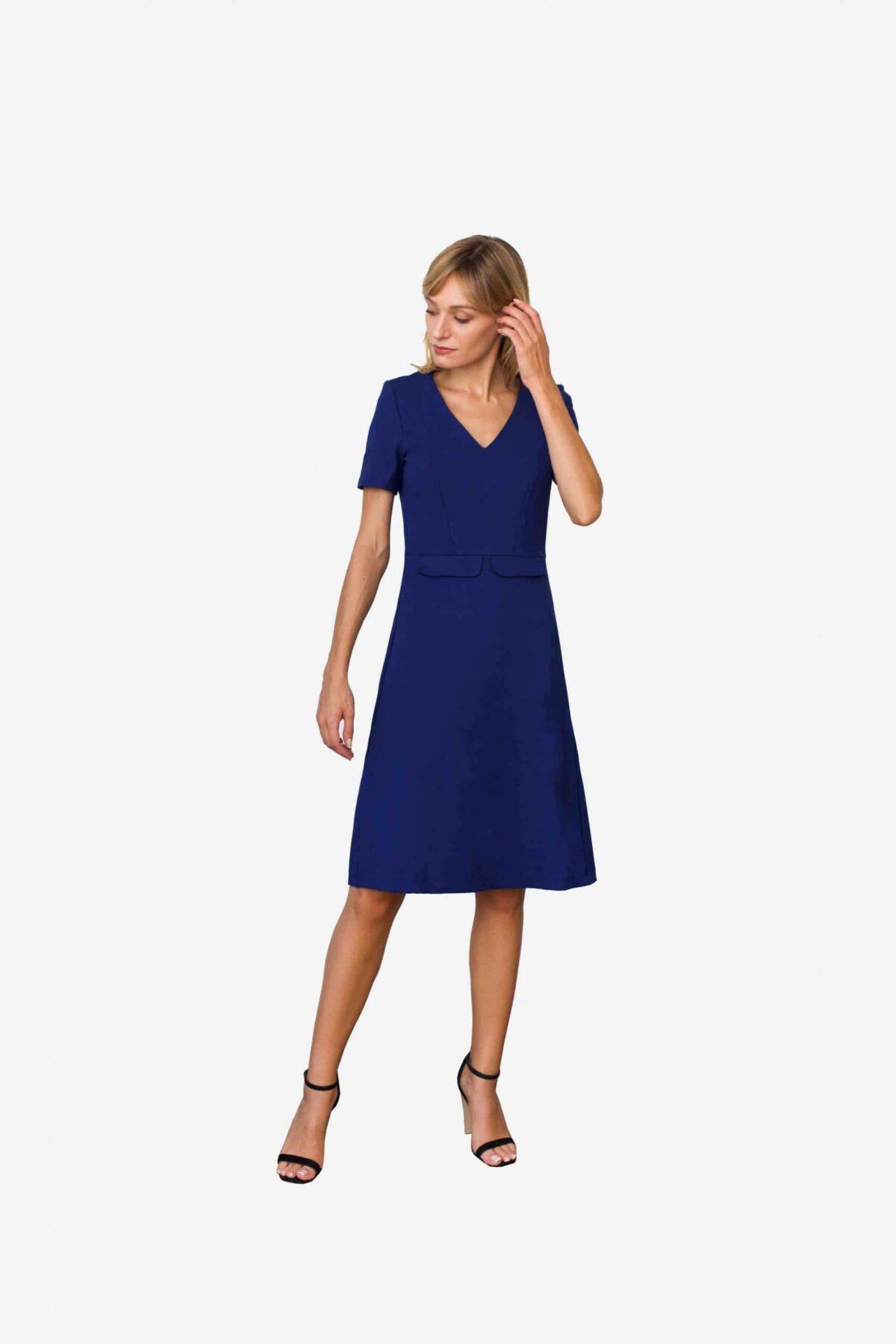 Kleid Victoria. Elegantes Kleid aus darkroyal blauem Premium Jersey