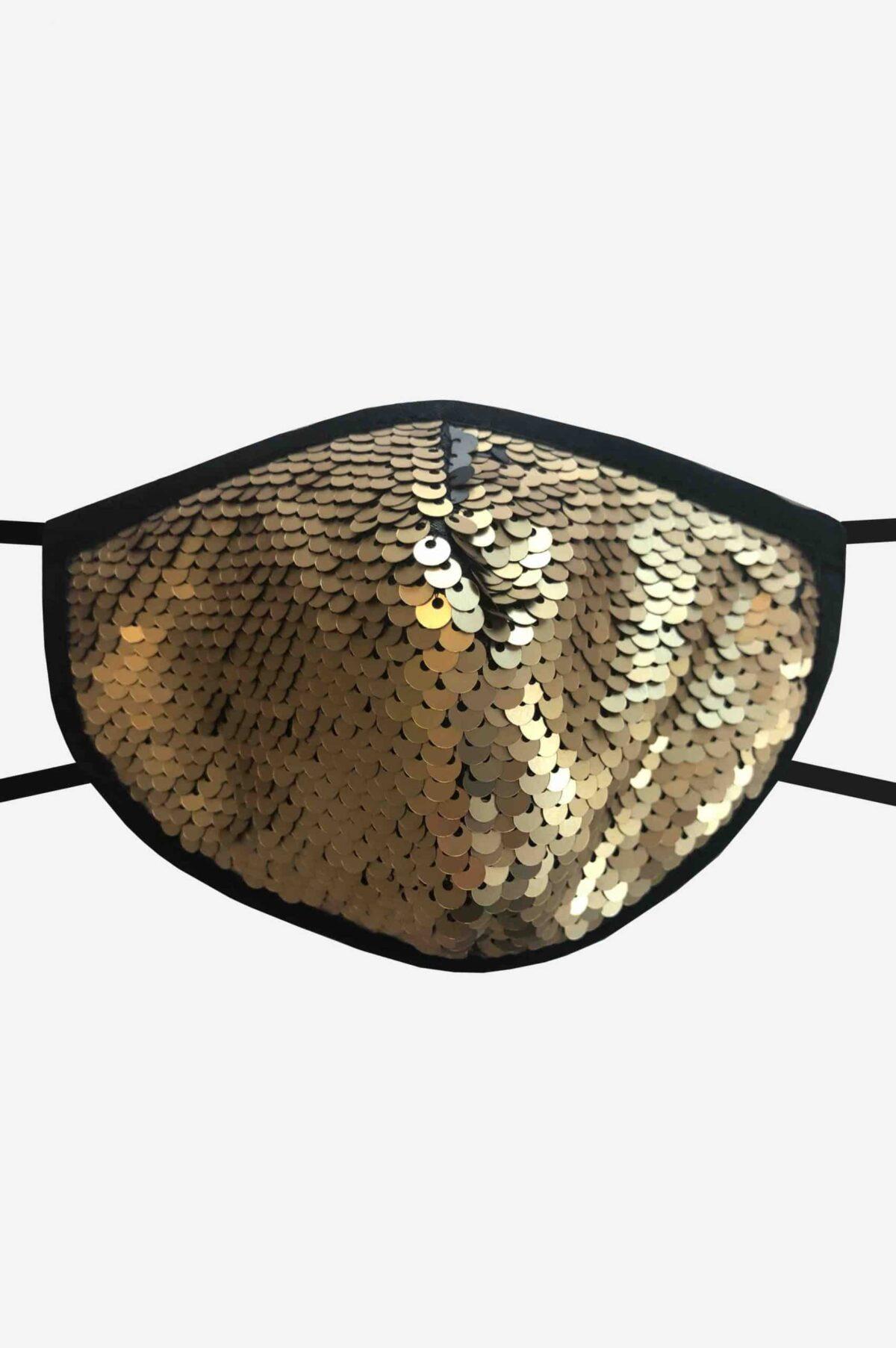 Stylische Mund-Nase-Maske Gesichtsmaske von SANOGE mit goldenen Glitzer Pailletten. Edel, elegant. Hergestellt in Deutschland.