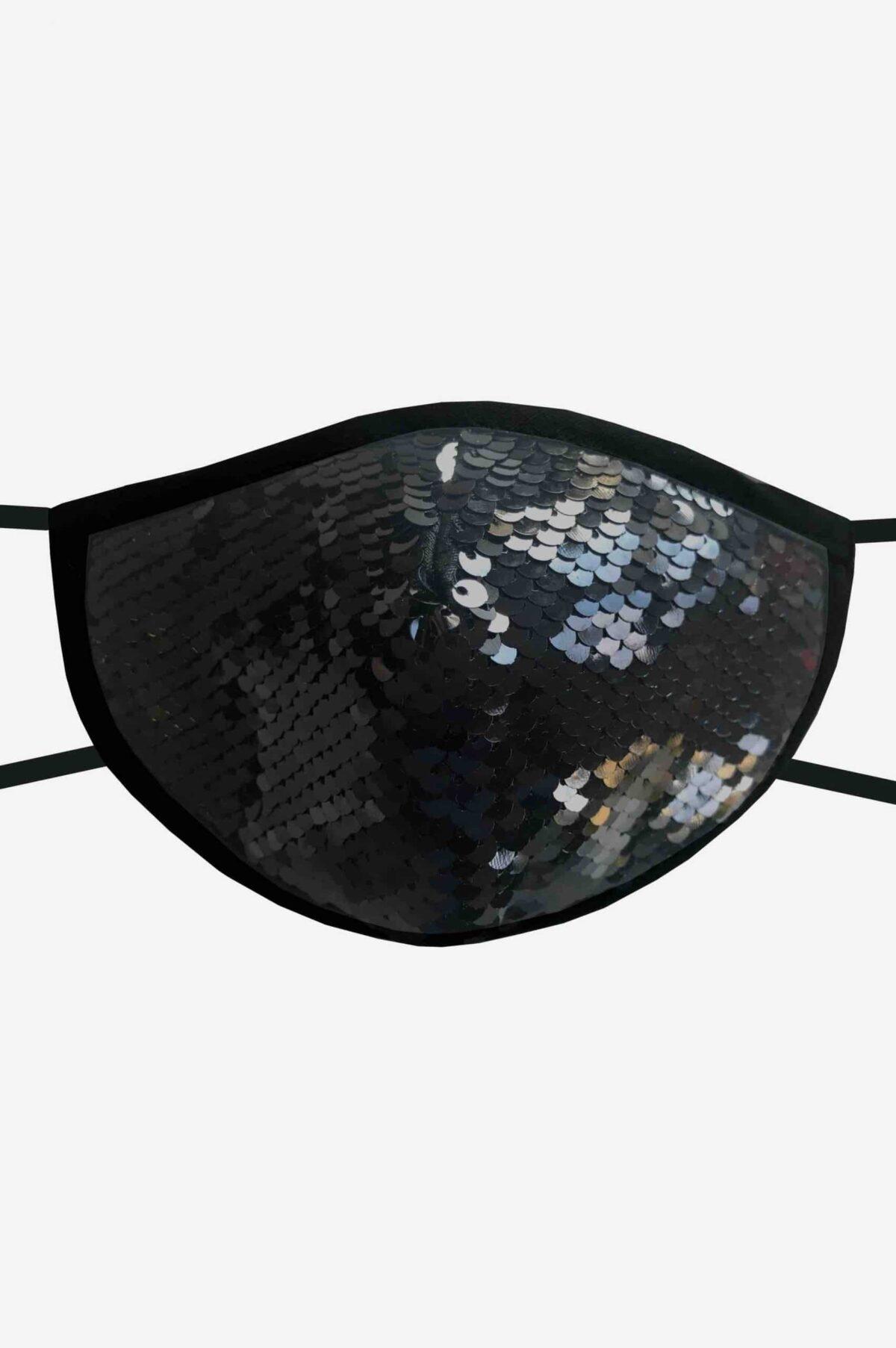 Stylische Mund-Nase-Maske Gesichtsmaske von SANOGE mit schwarzen und silber Glitzer Pailletten. Hergestellt in Deutschland.