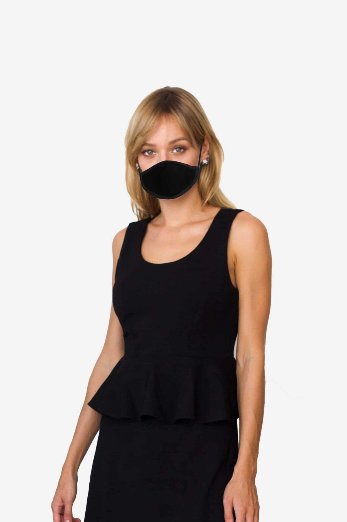Mund-Nase-Maske von SANOGE Gesichtsmaske Mundschutz Made in Germany in schwarz
