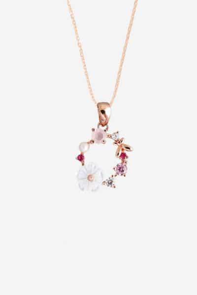 Collier Flower Dream - filigraner Anhänger aus Rosé Gold für die Dame